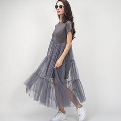 [TWOTWINSTYLE] Летний Корейский плюс размер сращивания плиссированные сетки майка платье женщин Черный Серый цвет одежды Новая мода