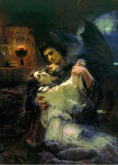 Tamara and Demon : Konstantin Makovsky : Romanticism : literary painting - Oil Painting Reproductions My Demons, Angels And Demons, Dark Music, Gravure Photo, Art Noir, Renaissance Kunst, Arte Horror, Classical Art, Russian Art