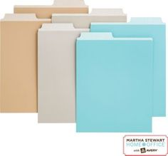 I think these are great, can be used in a magazine file. Martha Stewart Home Office™ with Avery™ Vertical File Folders, Assortment B, 2 Tab, x Filing Cabinet Organization, File Folder Organization, Paper Organization, Office Organization, File Folders, Organizing Ideas, Home Office Accessories, Office Items, Martha Stewart Home
