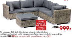 loungeset juliette 3-delig 2-zitsbank links rechts hoekstuk wicker aluminium frame naturel kussens 2 tafel kussen folder aanbieding bij Intratuin