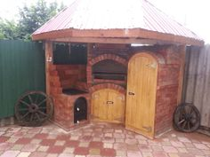 Gratar rustic caramida aparenta cu afumatoare Bbq Grill, Gazebo, Shed, Rooms, Outdoor Structures, Garden, Ideas, Home Decor, Bar Grill