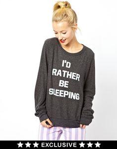 Wildfox I'd Rather Be Sleeping Sweatshirt Exclusive To ASOS