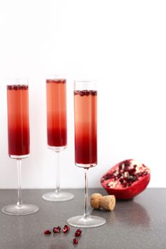 Pomegranate-Cranberry Champagne Sparklers.