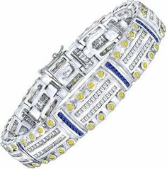 Men's Sterling Silver Bracelet with Canary Yellow and Azure Blue Cubic Zirconia (CZ) Stones,with Box Lock, Platinum Plated Bracelets For Men, Silver Bracelets, Silver Jewelry, Jewelry Rings, Rose Gold Diamond Ring, Rose Gold Engagement Ring, St Michael Pendant, Silver Rings Online, Key
