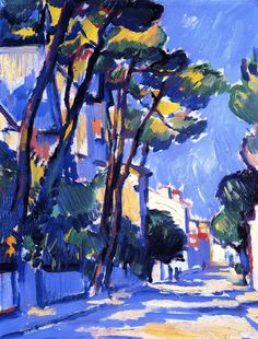dappledwithshadow:  Street Scene, FranceSamuel John Peploe circa 1910 Private collection	Painting - oil on canvas Height: 34 cm (13.39 in.), Width: 26.5 cm (10.43 in.)