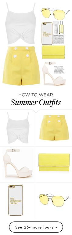 """""""Yellow & White summer outfit"""" by alpha-moon on Polyvore featuring Boutique Moschino, Nly Shoes, Topshop, Henri Bendel, BaubleBar, BCBGMAXAZRIA, Gucci, Clinique, Anja and Summer"""