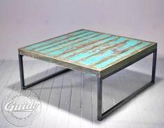 turkusowy stolik Industrialny
