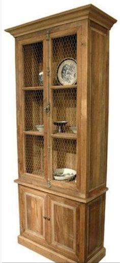 Pine 4 Door Distinct Bookcase Chicken Wire