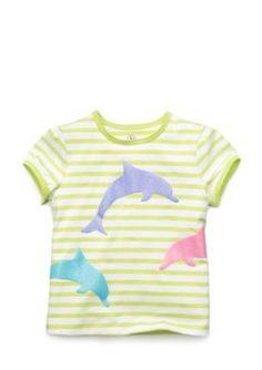 J Khaki   Short Sleeve Dolphin Striped Top Girls 4-6x