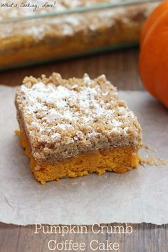 Pumpkin Crumb Coffee Cake. An easy and delicious pumpkin cake made using a boxed mix and topped with a pumpkin spice crumb topping. #breakfast #coffeecake
