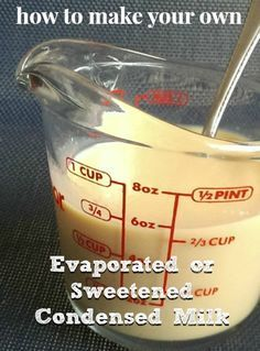 """Homemade Evaporated Milk Evaporated Milk Recipe 4 cups of milk Small pot Pour the milk into the pot on the stove. Turn the stove to """"low."""" Keep the milk hot, but not boiling, until the milk has evaporated to half its size (about 2 hours). Evaporated Milk Recipes, Condensed Milk Recipes, Homemade Sweetened Condensed Milk, Substitute For Condensed Milk, Milk Substitute For Cooking, Sweet Condensed Milk, Wallpaper Food, Do It Yourself Food, Homemade Spices"""