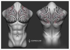 maori-full-backpiece chestpiece-tattoo-pecs-design-tatau-koru-flowing