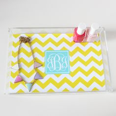 Free Chevron Monogram Acrylic Tray Insert in different color combos - just type in your initials and print