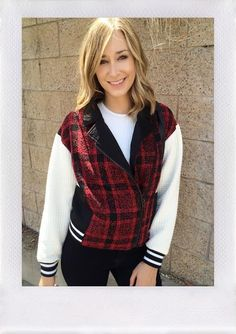 REHAB CLOTHING Plaid Scuba Jacket