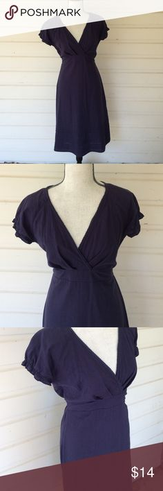 "Downeast Basics Linen blend navy V-Neck Beautiful linen dress from Downeast Basics. I was raised in Maine, every ounce of me adores this classic, modest dress. Flattering for so many body types. Pintucked details at hem. Slight wear at underarms. Offers always warmly received. 18"" at waist laid flat, elastic and tie to make that increase or decrease easily. 40 inches from back of the neck to hem. Downeast Basics Dresses"