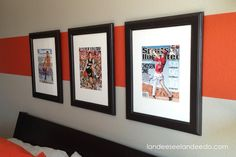 Landee See, Landee Do: Love the use of magazine covers in frames. Great idea for themed rooms.