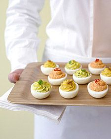 Deviled eggs(herb, red pepper and salmon)
