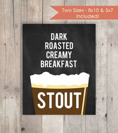 Craft Beer Poster  Stout  Gift for Beer Lover or by KandCCreative