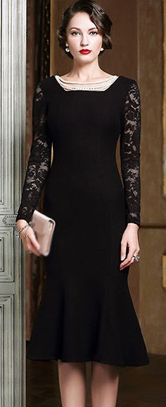 Fashion Square Neck Long Sleeve Bodycon Dress