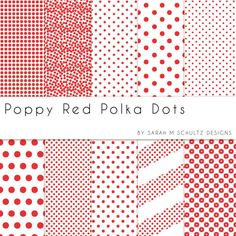 Poppy Red Polka Dots Digital Paper Pack by Sarah M Schultz Designs $2.49 #handmade #digitalpaper #scrapbook