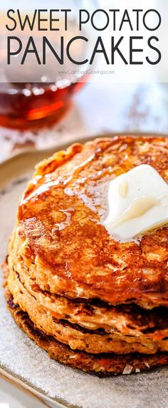 pancake healthy Mega soft, fluffy, comforting Sweet Potato Pancakes infused with coconut and oatmeal then spiked with cinnamon, nutmeg and vanilla for a delicately spiced, perfectly textured pancake you will CRAVE! via carlsbadcraving Sweet Potato Pancakes, Breakfast Pancakes, Pancakes And Waffles, Breakfast For Dinner, Best Breakfast, Oatmeal Pancakes, Pancakes Cinnamon, Pancake Muffins, Breakfast Potatoes