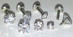 16g 3 4 5mm PRONG SET CZ Cartilage Tragus TRIPLE FORWARD HELIX Ear Piercing Stud