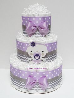 3 Tier Purple And Gray Baby Girl Diaper Cake, Baby Shower Centerpiece Baby Shower Gift Basket, Baby Shower Diapers, Baby Shower Cakes, Diaper Cake Boy, Cake Baby, Nappy Cakes, Diaper Cake Centerpieces, Baby Shower Centerpieces, Lavender Baby Showers