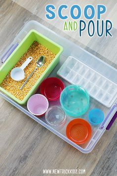 Shovel and trash can! A simple and appealing sensory recipe for . Shovel and trash can! A simple and appealing sensory recipe to promote fine motor skills . - the 20 Creati. Motor Skills Activities, Toddler Learning Activities, Montessori Toddler, Montessori Activities, Toddler Play, Infant Activities, 2 Year Old Activities, Sensory Activities For Preschoolers, Fine Motor Activities For Kids