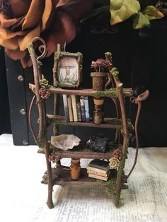 Faery Bookshelf 16 piece set with crystals and accessories – miniature ooak fairy furniture, shelf – handmade by thefaeryforest – Handwerk und Basteln Fairy Garden Furniture, Fairy Garden Houses, Fairy Gardening, Fairy Crafts, Fairy Garden Accessories, Fairy Doors, Miniature Fairy Gardens, Faeries, Minis