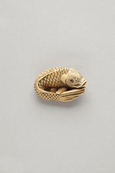 Ivory netsuke of a carp By Masanao, Kyoto, late 18th century
