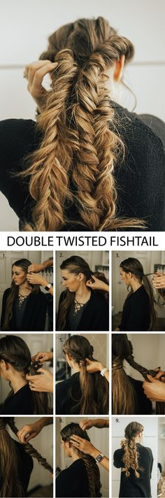 The prettiest double twisted fishtail braids! This hairstyle is so pretty and th. Pigtail Hairstyles, Pigtail Braids, Twist Braids, Pretty Hairstyles, Braided Hairstyles, Perfect Hairstyle, Fishtail Plaits, Braids Easy, Updo Hairstyle