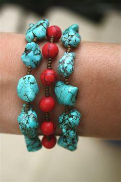 Handmade Turquoise and Red Beaded Bracelet & Earrings Set. $28.00, via Etsy.