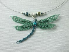 Teal and turquoise tatted dragonfly pendant.