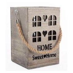 A beautiful rustic lantern with the text 'Home Sweet Home' cut out with a rustic rope handle attached.  Glass insert included for a candle or would look lovely with fairy lights.  Made from wood.  Size 15cm x 10cm 8.99 each http://ift.tt/1OuIFq4 #homesweethome #lightup #light #candleholder #lantern #wooden #rustic #candlelantern #countrystyle #shabby #shabbychic #shabbydecor #shabbychichome #homedecor #homeinteriors #homeaccessories #candle #rope #interior123 #interiordesign #vintage…