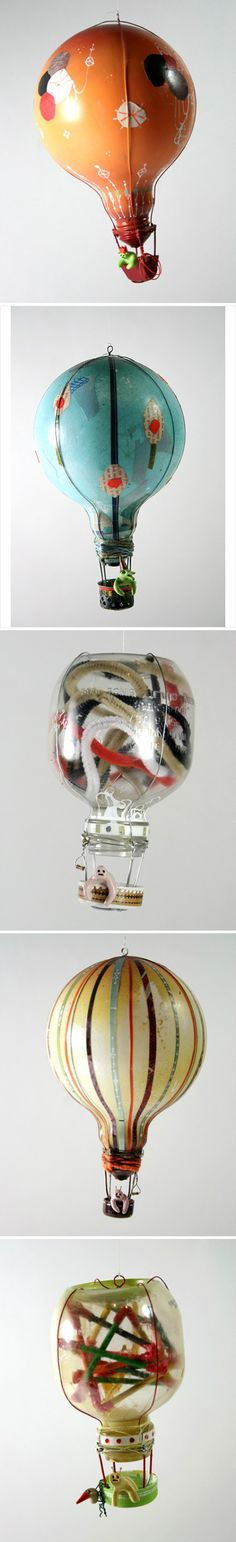 Cool up-cycle idea, use old light bulbs to make fun whimsical helium balloon figurines