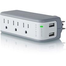 This useful surge protector from Walmart has a place for you to charge anything that has a USB cord.  So convenient!