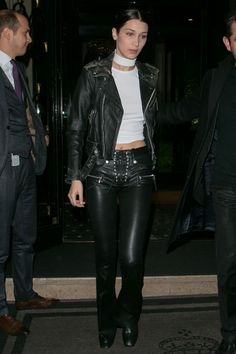 8 March Bella Hadid paired leather with leather for an outing during Paris Fashion Week.   - HarpersBAZAAR.co.uk