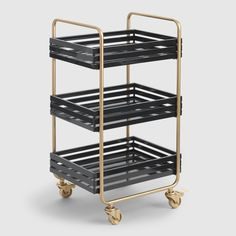 Gold and Black Metal Carson Rolling Cart by World Market - Storage Cart - Ideas of Storage Cart - Gold and Black Metal Carson Rolling Cart by World Market Eclectic Desks, Metal Cart, Slatted Shelves, Desk Essentials, Home Office Accessories, Storage Cart, Desk Storage, Record Storage, Office Storage