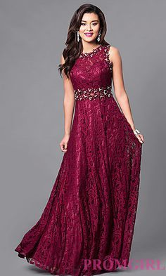 Floor-Length Sleeveless Lace Dress at PromGirl.com