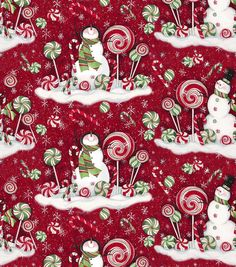 Susan Winget Holiday Insporations Fabric Mint Hill Snowmen Scenic