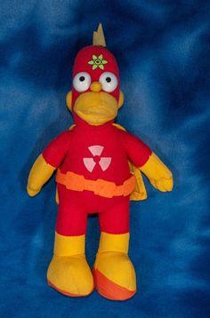 "plush HOMER SIMPSON RADIOACTIVE MAN SUPER HERO doll 10"" Nanco 2005"