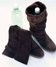 recycle plastic bottles to hold up boots in closet!