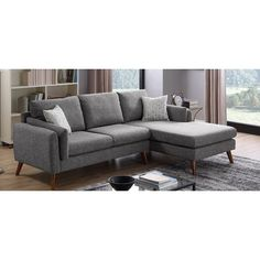 Bicknell Right Hand Facing Sectional – pink accent pillow Living Room Chairs, Living Room Interior, Living Room Furniture, Home Furniture, Living Rooms, Best Sectionals, Sofas For Small Spaces, Modern Sectional, Sectional Sofas