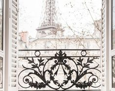 Paris Photography Coffee and Flowers Eiffel Tower Ornate | Etsy