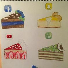 Illustrate a social media app as an object (dress, cake, book cover, etc. App Drawings, Kawaii Drawings, Disney Drawings, Cute Drawings, Drawing Sketches, Amazing Drawings, Beautiful Drawings, Amazing Art, Awesome