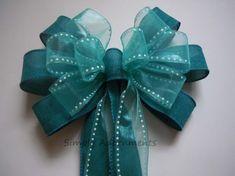 Teal Aqua blue Wedding Pew Bow Teal Blue by SimplyAdornmentsss