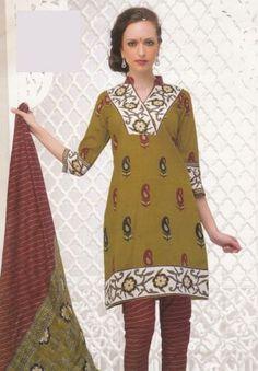 Gorgeous Green Color Dress Material Printed Lawn Cotton Unstitched Salwar Kameez Suit D.no 4030