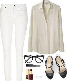 Style - Minimal + Classic: white jeans & cream blouse