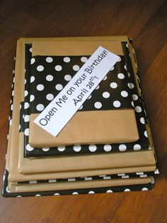 """Love this idea! Give 12 books to a child as a """" Book of the month club"""" gift.  Instruct them to open one book each month! Great way for a child to always have a new book to read!"""