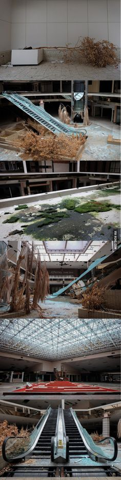 Rolling acres, abandoned mall in Akron, Ohio, USA.